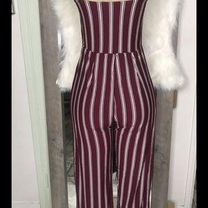 Burgundy white striped jumpsuit